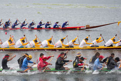 Thai long boat traditional compete Royalty Free Stock Photography