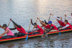 Thai long boats compete during King's Cup Native Long Boat Race Stock Photography