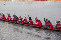 Thai long boats compete during King's Cup Native Long Boat Race Stock Images