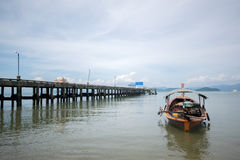 Thai long tail boat at Koh Payam pier, Thailand Royalty Free Stock Photography