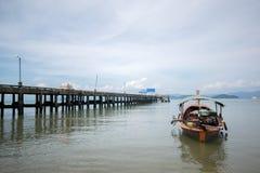 Thai long tail boat at Koh Payam pier, Thailand Royalty Free Stock Photography