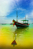 Thai longboat in the water. Traditional Thai Longtail boat on the beach Stock Image