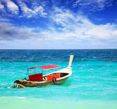 Thai longtail boat. Traditional Thai longtail boat in the ocean stock photo