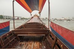 Thai Longtail boat on Bangkok Khlong Canal. Thailand Stock Photography