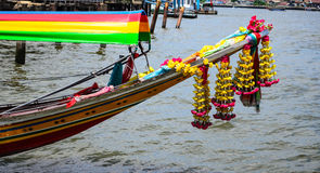 Thai Longtail Boat. Longtail boat on the river in Thailand royalty free stock photography