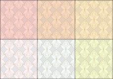 Thai lotus flowers seamless vintage pattern vector abstract back. Thai lotus flowers seamless vintage luxury pattern vector abstract background, 6 patterns Stock Photo