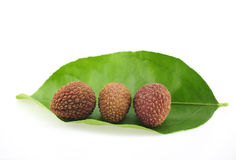 Thai Lychee, chakrapad cultivar, northern Thailand on white background 2017 Royalty Free Stock Images