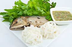 Thai Mackerel with vegetables Stock Photos