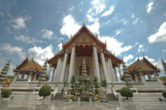 Thai majestic Ben temple and blue sky Royalty Free Stock Image