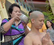 Thai male in Buddhism ordination ritual Royalty Free Stock Image