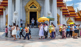 Thai Male ordains in the Marble Temple ( Wat Benchamabophit ), Bangkok, Thailand Royalty Free Stock Image
