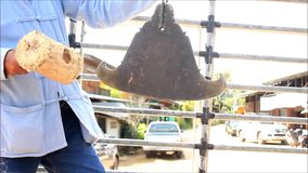 Thai man beating a traditional Buddhist Gong or bell whilst in a truck as part of a procession leading to a temple during a local stock video