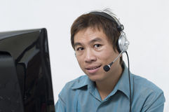 Thai man with headset royalty free stock images