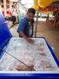 Thai Man prepare a raw recipe  with Big Ice bucket  to make it f. Resh  for the Buddhist Donation Event in Burirum Province, 22th April, 2018 Royalty Free Stock Image