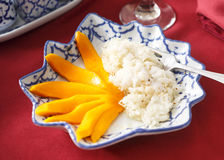 Thai Mango Sticky Rice Dessert. Mango Sticky Rice dessert photographed at a Thai restaurant royalty free stock photography