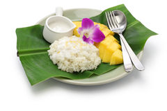 Thai mango sticky rice, khao niaow ma muang Stock Images