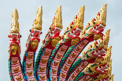 Thai many heads dragon statue in public temple Royalty Free Stock Photo