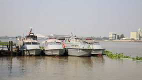 Thai marine police ships on the port Royalty Free Stock Images