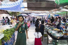 Thai market products and fruits a lot of greenery Stock Image