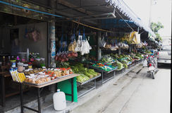 Thai market products and fruits a lot of greenery Royalty Free Stock Images
