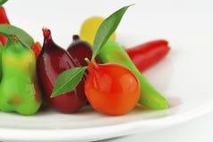 Thai marzipan fruits. Thai dessert fruit-imitated soybean Stock Images
