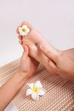 Thai massage foot royalty free stock photo