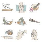 Thai Massage Isolated Color Icon Set Stock Photo