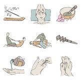 Thai massage isolated color icon set. Set simple illustration in soft colors for thai massage Stock Photo
