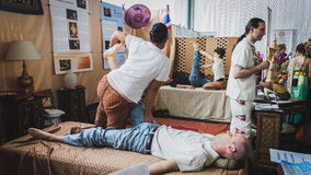 Thai massage at Orient Festival in Milan, Italy Royalty Free Stock Images