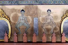 Thai massage pressure points. Ancient wall-painting showing pressure points according to Thai massage and medicine. Photo taken in Wat Pho temple - Bangkok royalty free stock photos