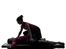 Thai massage silhouette Royalty Free Stock Images