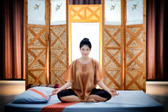 Thai massage spa., Beautiful asian woman waiting masseur Royalty Free Stock Images