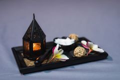 Thai Massage spa equipments on bed royalty free stock image