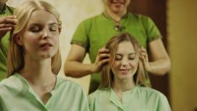 Thai massage at spa stock footage