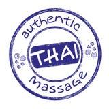 Thai massage stamp blue Royalty Free Stock Photo