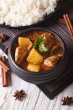 Thai massaman curry with chicken in a bowl and rice on the table Royalty Free Stock Photography