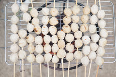 Thai meat ball with bamboo stick Stock Image