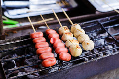 Thai meat ball and sausage with bamboo stick Royalty Free Stock Image