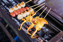 Thai meat ball and sausage with bamboo stick Stock Photos