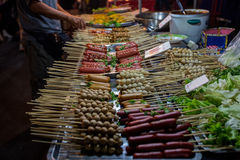 Thai meat ball and sausage with bamboo stick Stock Photography