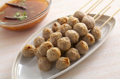 Thai meat ball. And spicy sauce Royalty Free Stock Photo