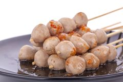 Thai meat ball and spicy sauce stock images