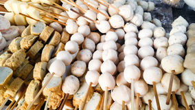 Thai Meat Ball in wood stick on the shelf for sale Royalty Free Stock Photos