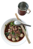 Thai meat Noodle isolate with paths Royalty Free Stock Photos