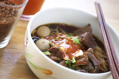 Thai meat noodle. In sunlight Royalty Free Stock Photos