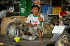 Thai mechanic in auto repair Royalty Free Stock Photography