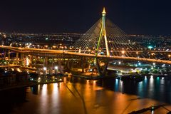 Thai Mega Sling Bridge in Thailand. Royalty Free Stock Photos