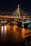Thai Mega Sling Bridge in Thailand,Vertical. Stock Photo