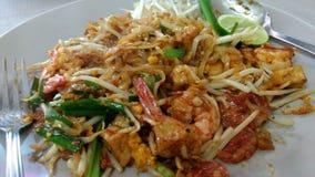 Thai meny för Padthai nudlar med räka Royaltyfria Foton