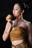 Thai model and peach Stock Image